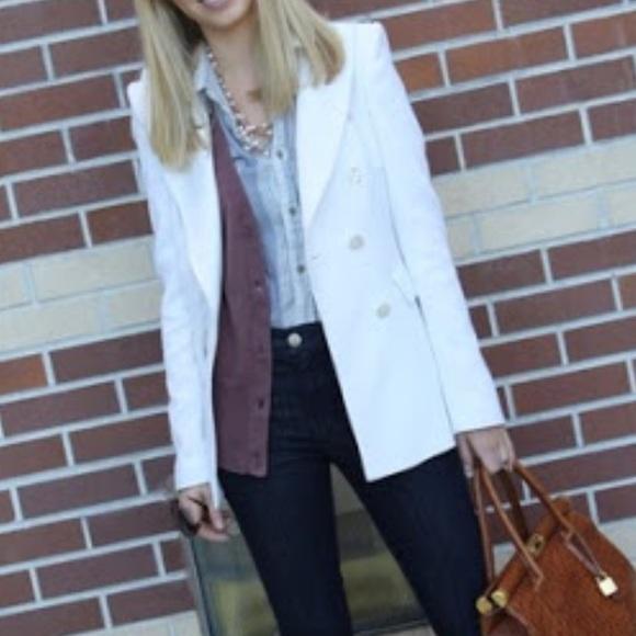 Zara white double breasted blazer coat